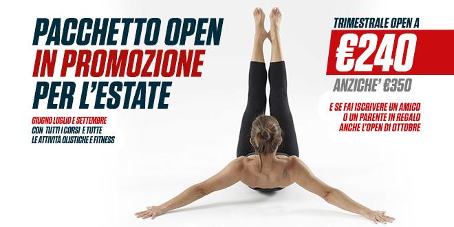 Pacchetto open in promozione per Giugno, Luglio e Settembre