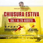 Sport Conditioning Studio Personal Training, CHIUSURA ESTIVA 2019