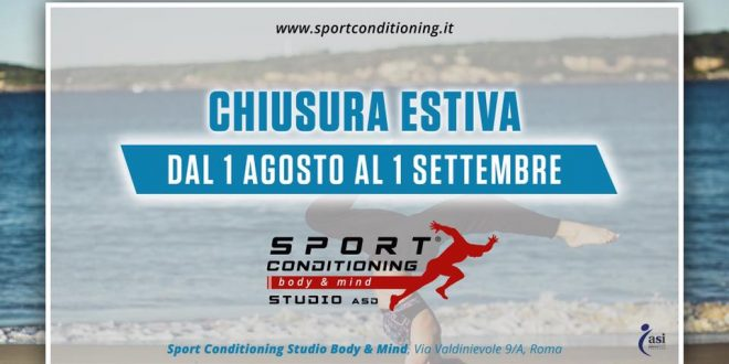 Sport Conditioning Studio Body & Mind, CHIUSURA ESTIVA 2019